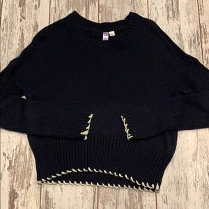Embroidered Navy Sweater
